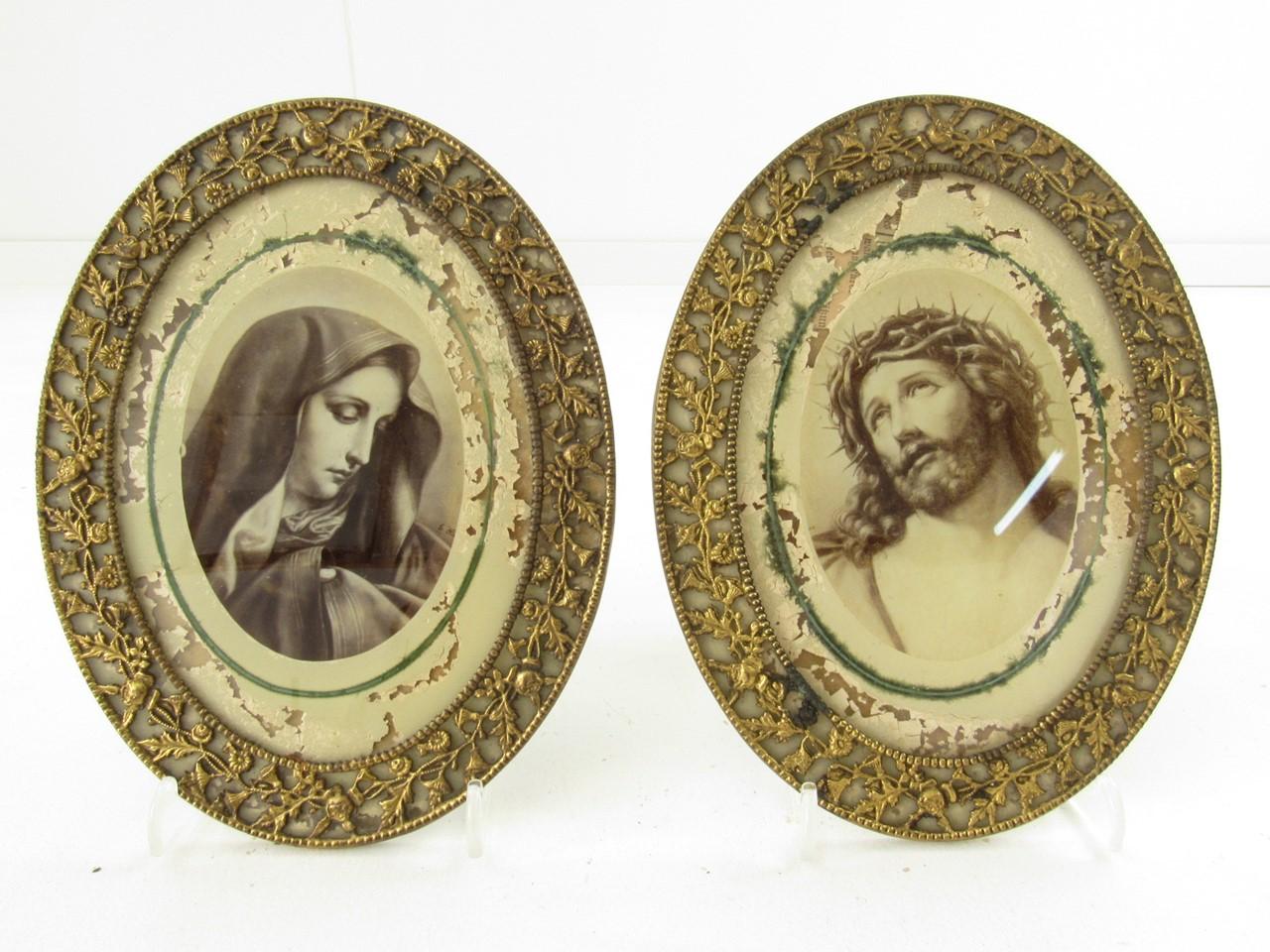 Historismus Bilderrahmen Paar aus Messing mit Andachtsbildern ...