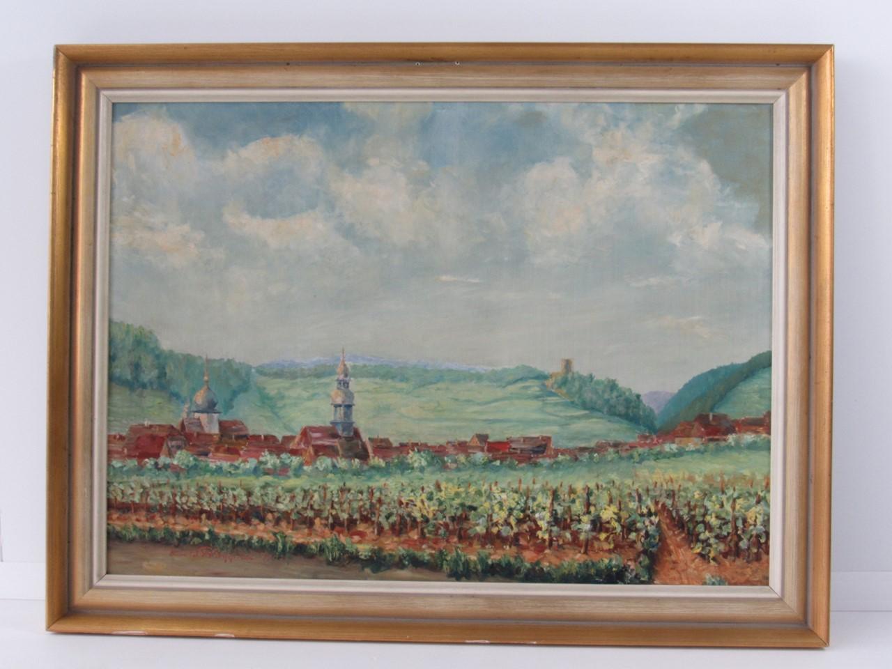 Ölgemälde Wachenheim mit Wachtenburg, 20. Jahrhundert, sign. & dat ...