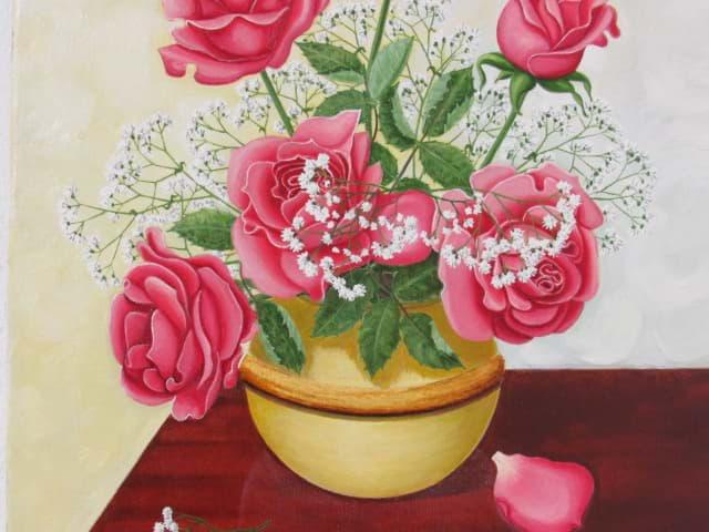 ölbild Blumenstillleben Roter Rosen Strauß In Einer Kugelvase ölleinwand
